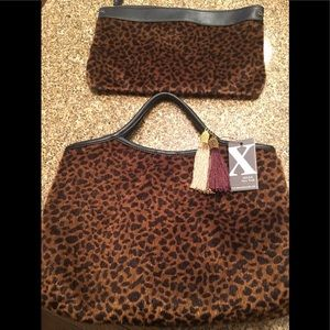 NWT 2 in 1 leopard hair tote and clutch set.